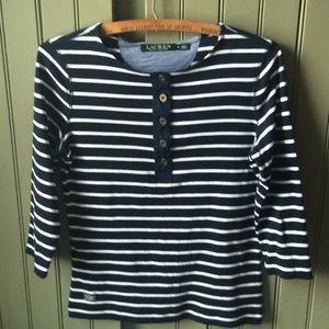 Lauren (Ralph Lauren) navy striped jersey knit top